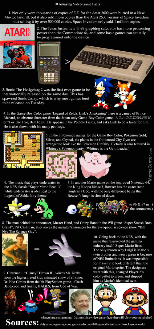 10 Amazing Video Game Facts (100% Oc)