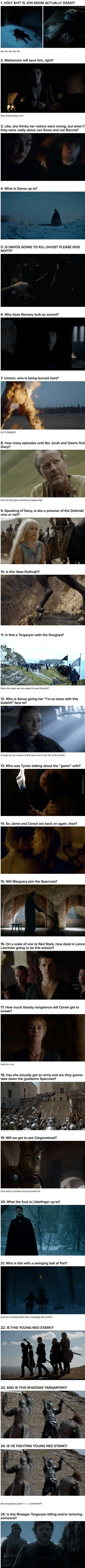 25 Questions We Have After Watching The Game Of Thrones Season 6 Trailer