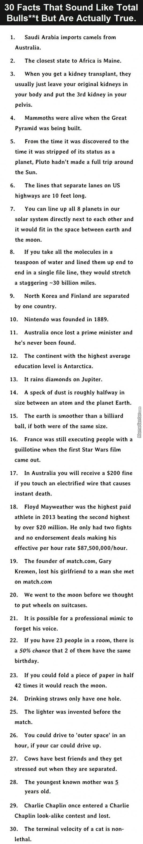 30 Facts That Sound Like Bullshit But Are True.