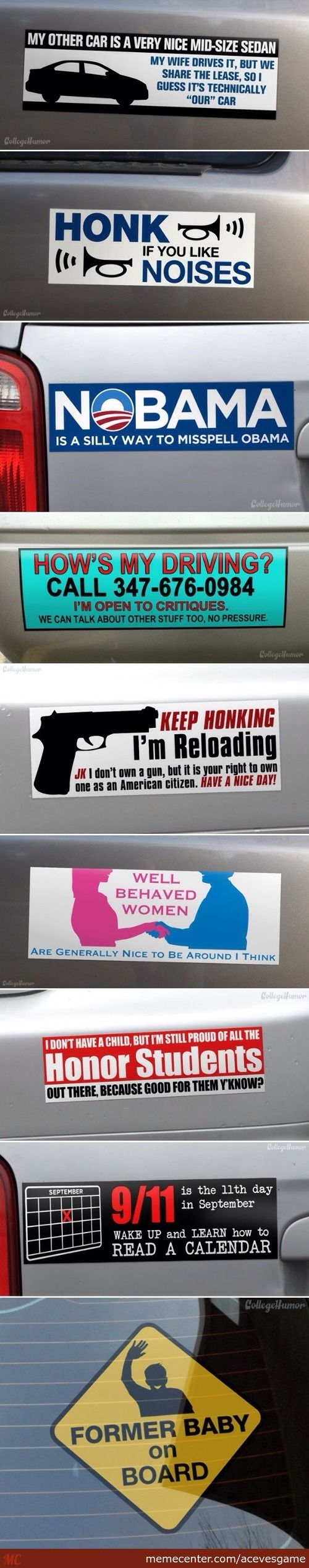 9 Interesting Bumper Stickers