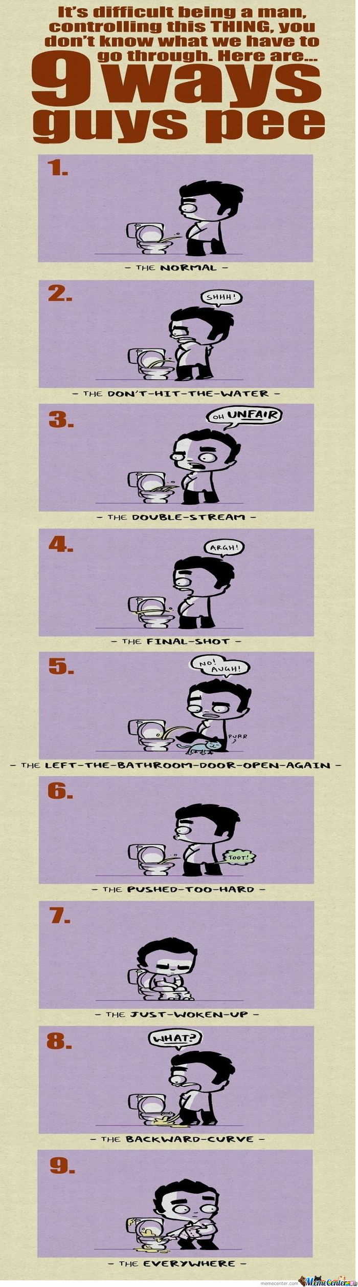 9 Ways Men Pee