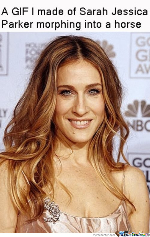 A gif I made of SJP morphing into a horse