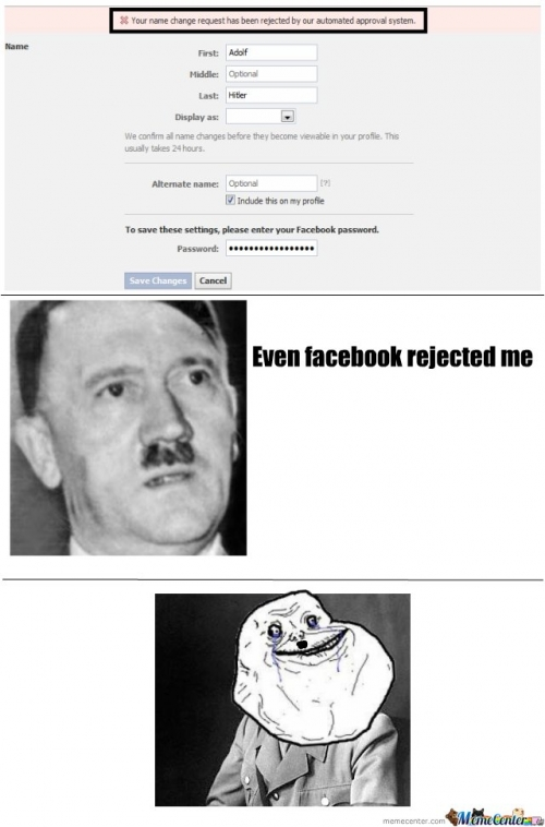 Adolf Hitler Rejected from Facebook