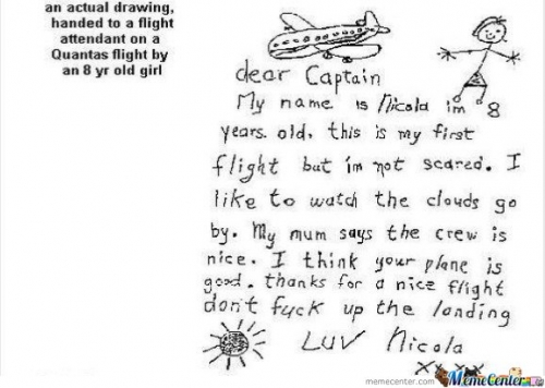 An Actual Drawing , Handed To A Flight Attendant On A Quantas Flight By An 8 Year Old Girl