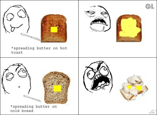 Apreading butter on hot toast & on cold bread