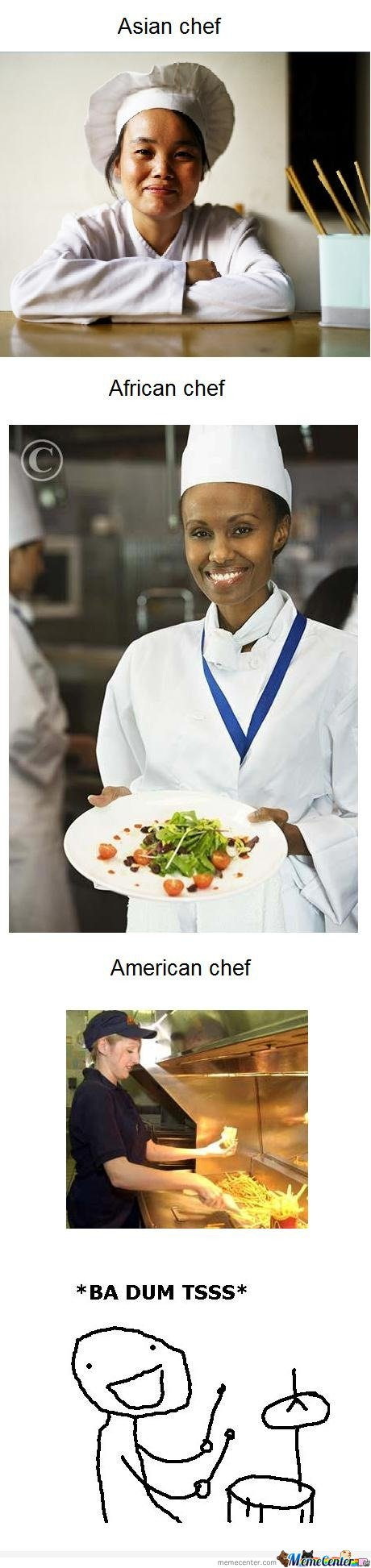 Asian chef vs African chef vs American chef