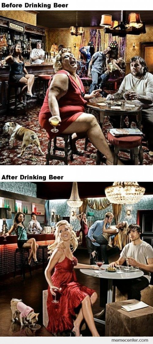 Before and After Beer