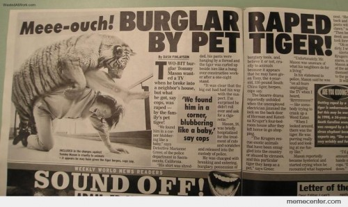 Burglar Raped By Pet Tiger