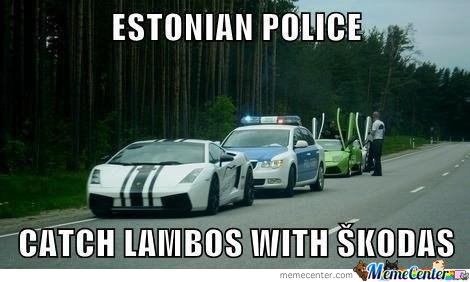 Estonian Police cathch Lambos with Skodas