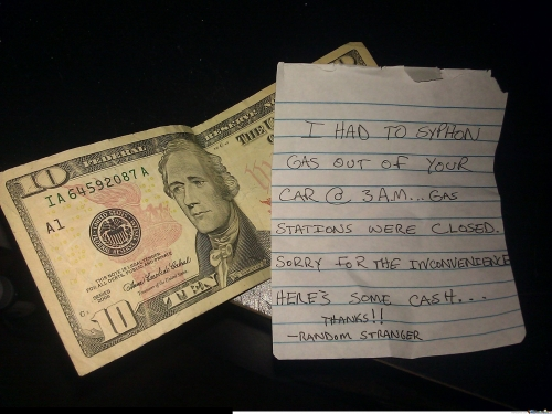 Found this on my windshield at 6 a.m. a few days ago.