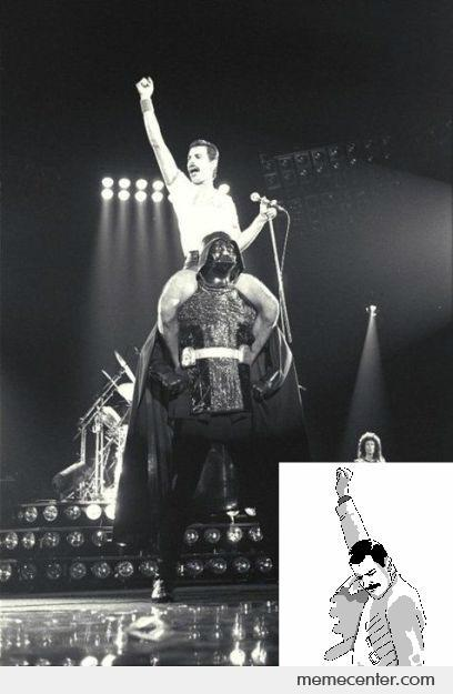 Freddy Mercury Shoulder Riding Darth Vader