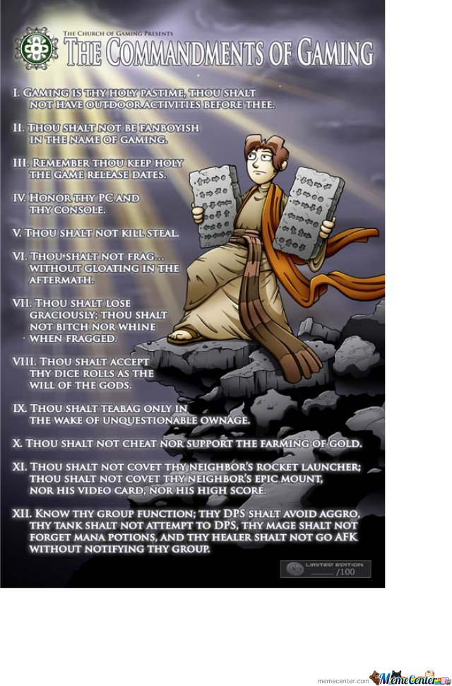 Gamer Commandments