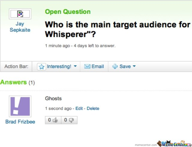 Ghosts are the target audience