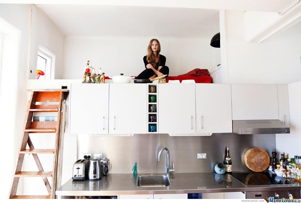 Her bedroom is in the kitchen.Your argument is invalid