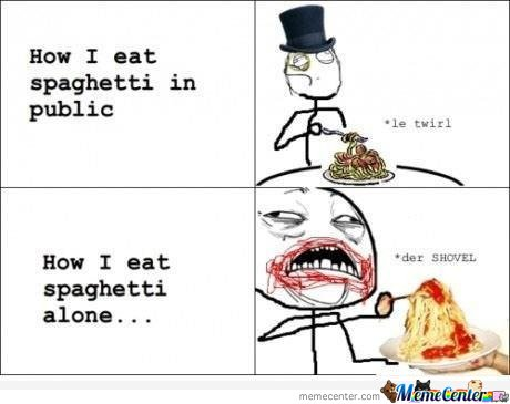 How I Eat Spaghetti In Public & How I Eat Spaghetti Alone