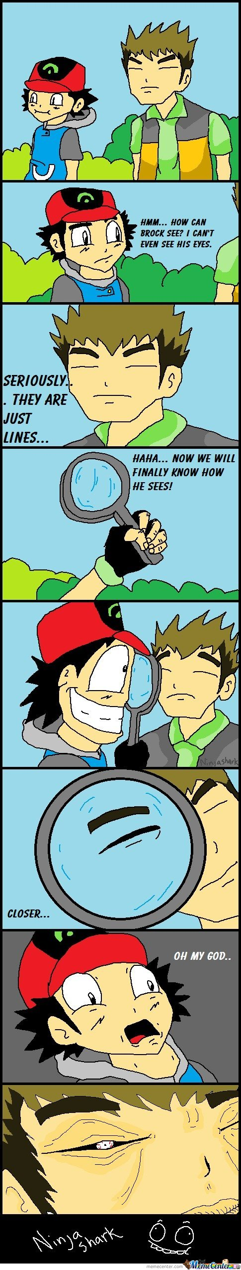 How can Brock see? I can't even see his eyes
