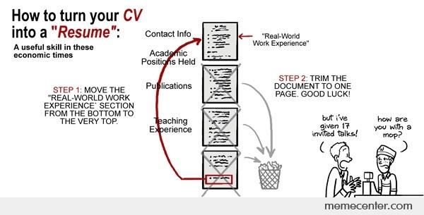 how to turn your cv into a resume by ben meme center