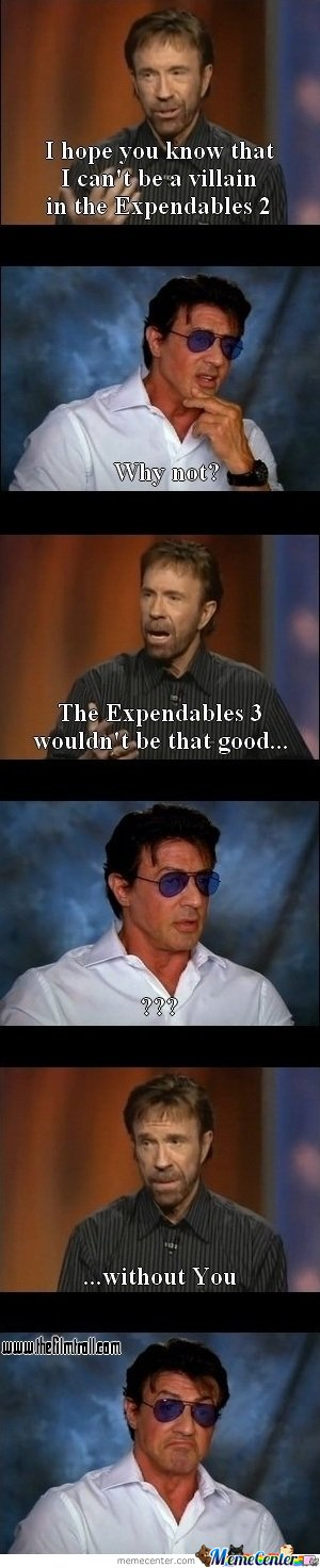 I hope you know that I can't be a villain in the Expendables 2