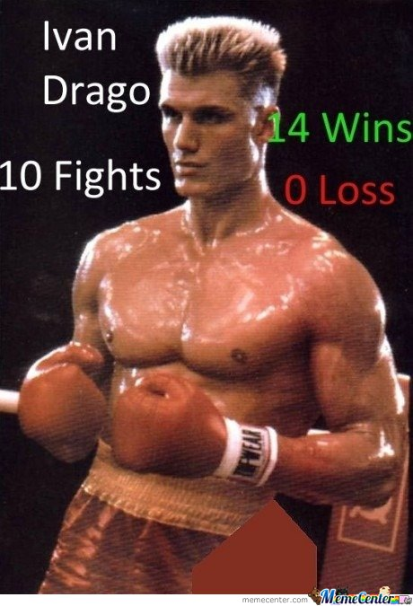 Ivan Drago.. 14 Wins 0 Loss