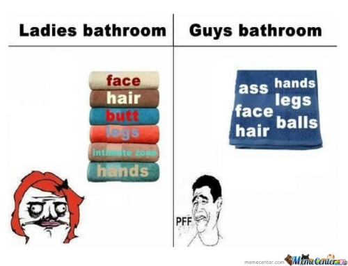 Ladies bathroom vs guys bathroom