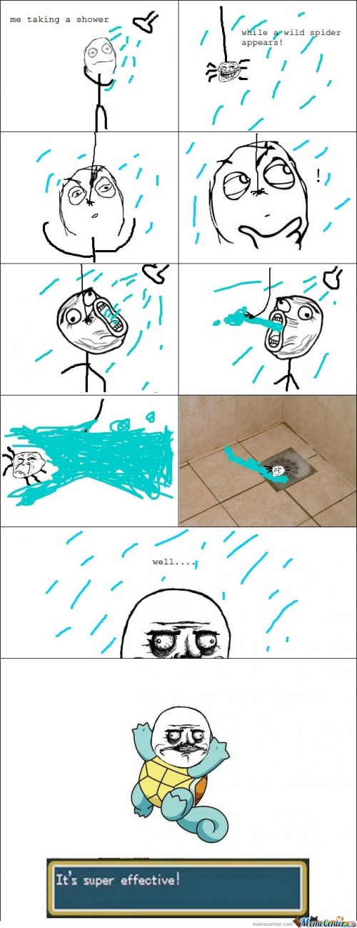 Le me taking a shower. A wild spider appears