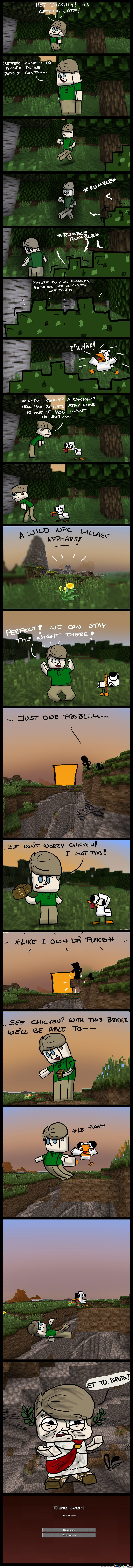 Minecraft Comic - See Chicken? With this bridge we'll be able to