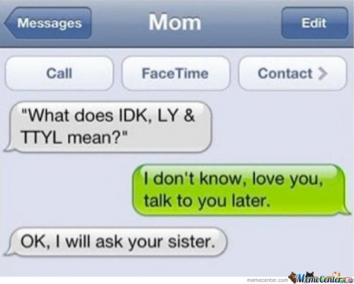 Mom : What Does IDK, LY & TTYL Mean