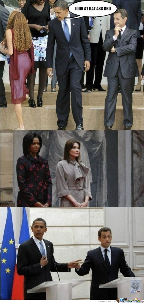 Obama and Sarkozy Caught Looking Dat Ass