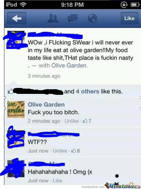 Olive Garden doesn't f**k around