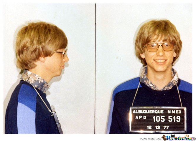 Photographed by the Albuquerque, New Mexico police in 1977 after a traffic violation
