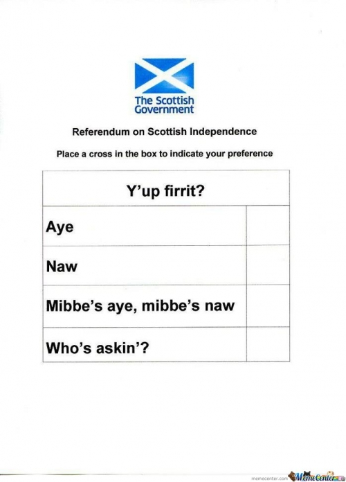 Scotland's Referendum Paper Leaked..