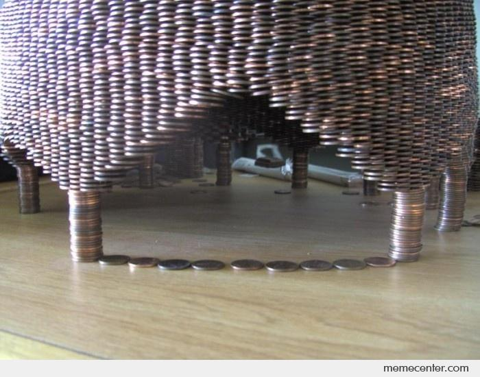 Structure made from stacked pennies
