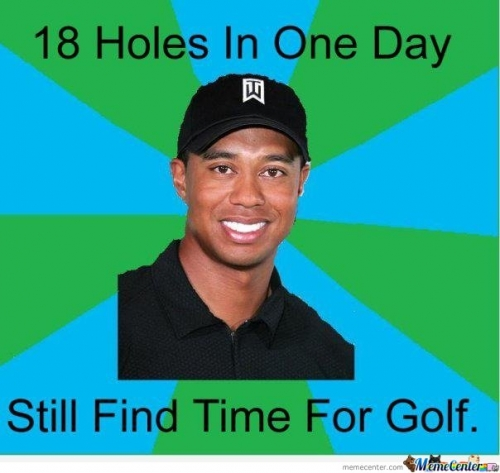 Tiger Woods Meme - 18 holes in one day