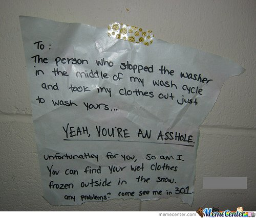 To : The person who stopped the washer in the middle of my wash cycle
