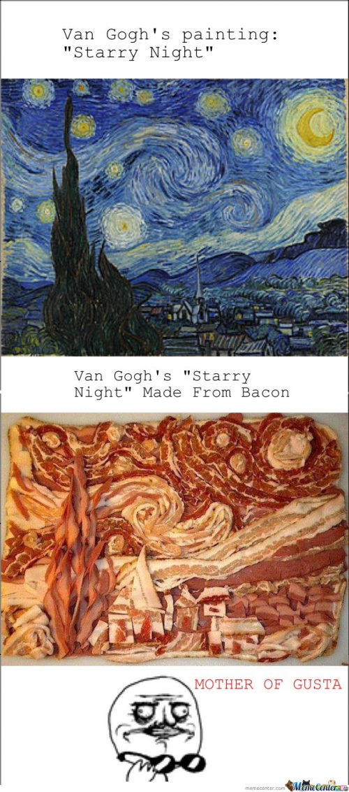 Van Gogh's Starry Night made from bacon