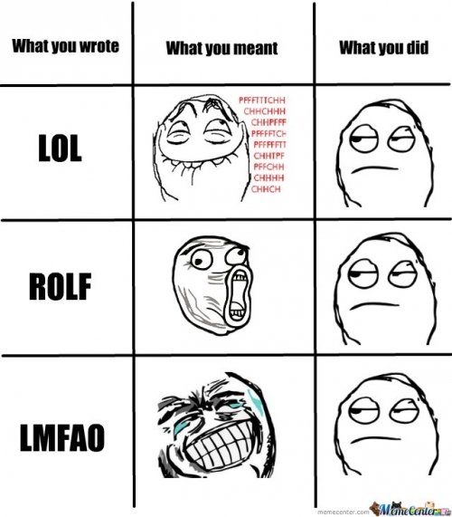 What you wrote (LOL, ROLF, LMFAO)