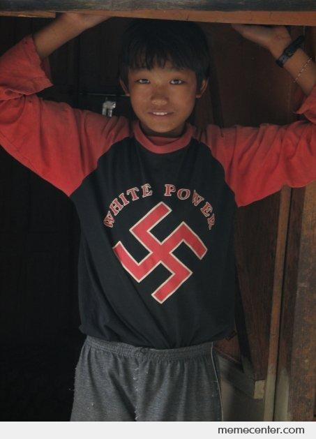 White Power: Asian Kid With Swastika
