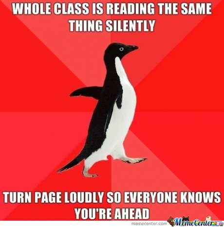 Whole class reading the same thing silently