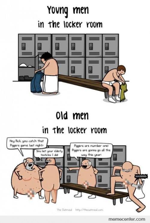 Young vs Old Men in Locker Room