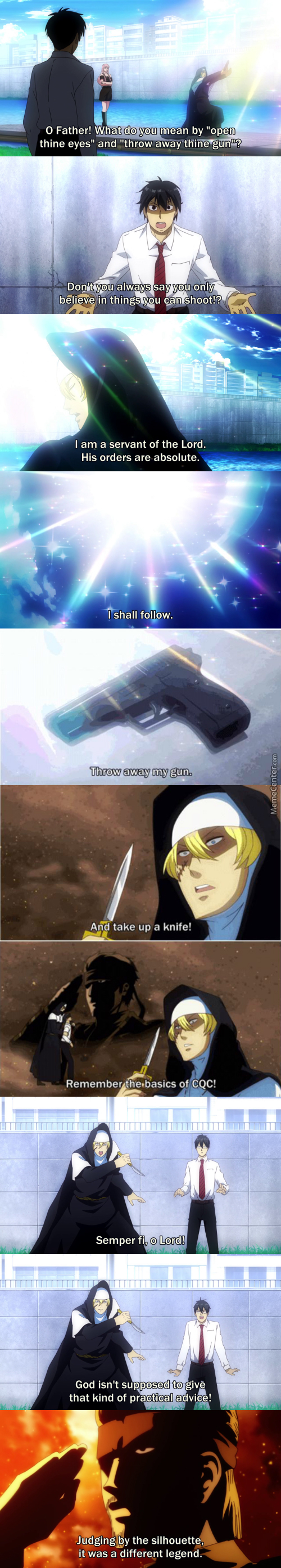 A Legend Had Taught Him Cqc (Anime: Arakawa Under The Bridge)