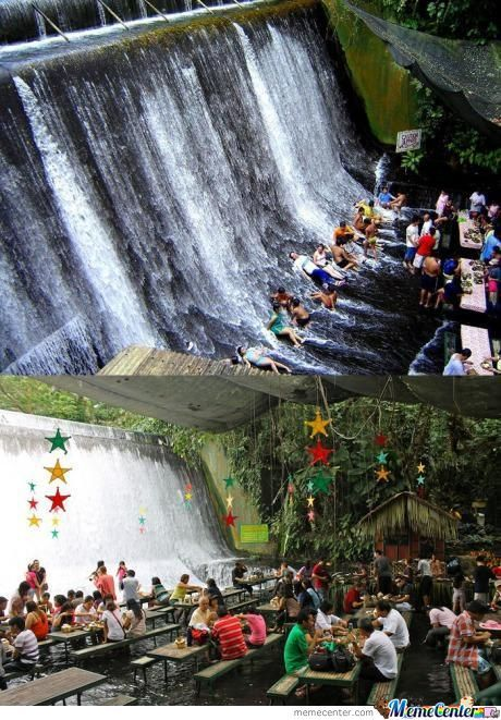 A Man Made Waterfall In Villa Escudero Philipines