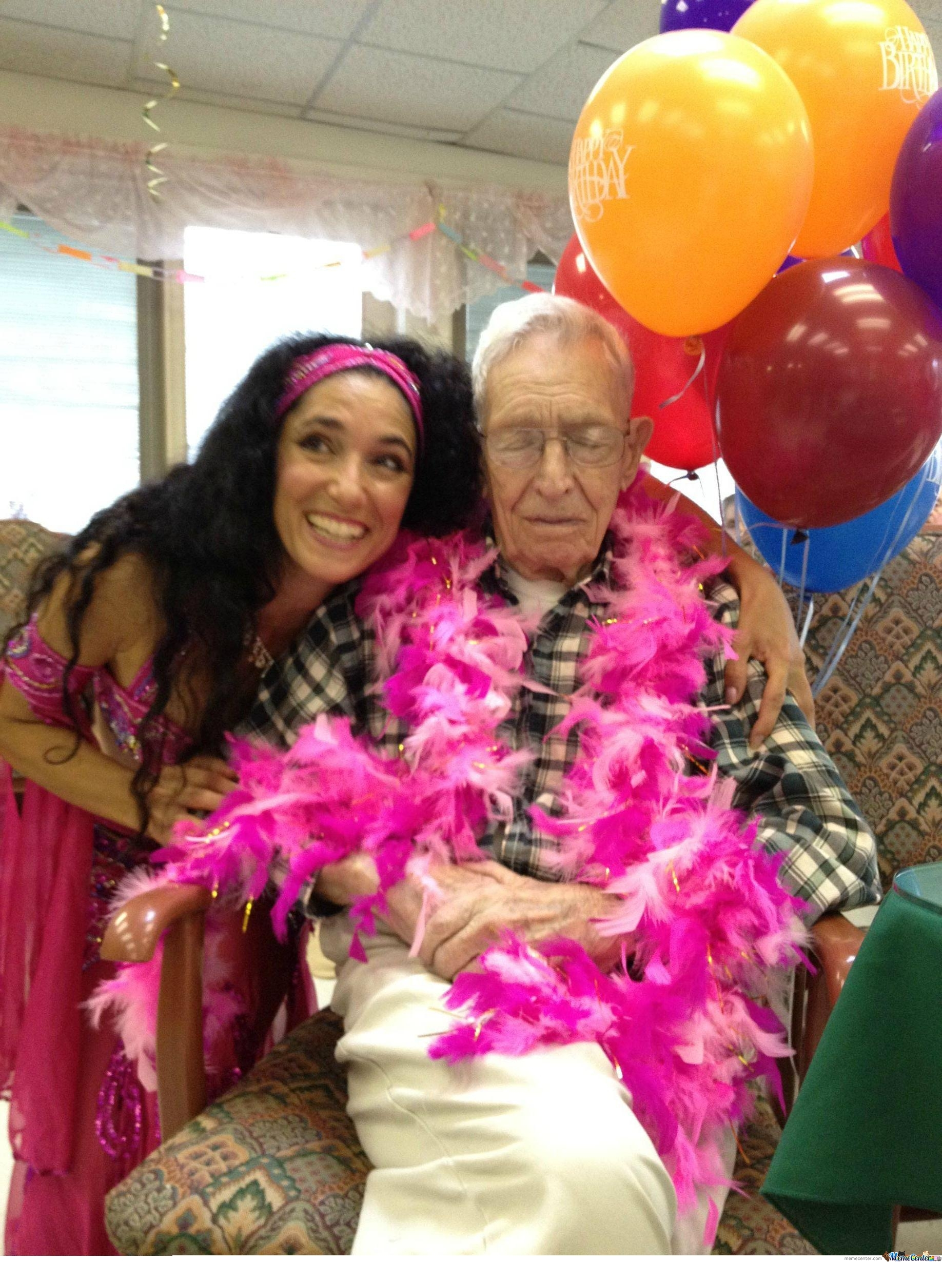 A Man Where I Worked Turned 100 Today. His Birthday Wish Was To Have A Cold Beer And A Belly Dancer. Wish Granted.  What A Guy