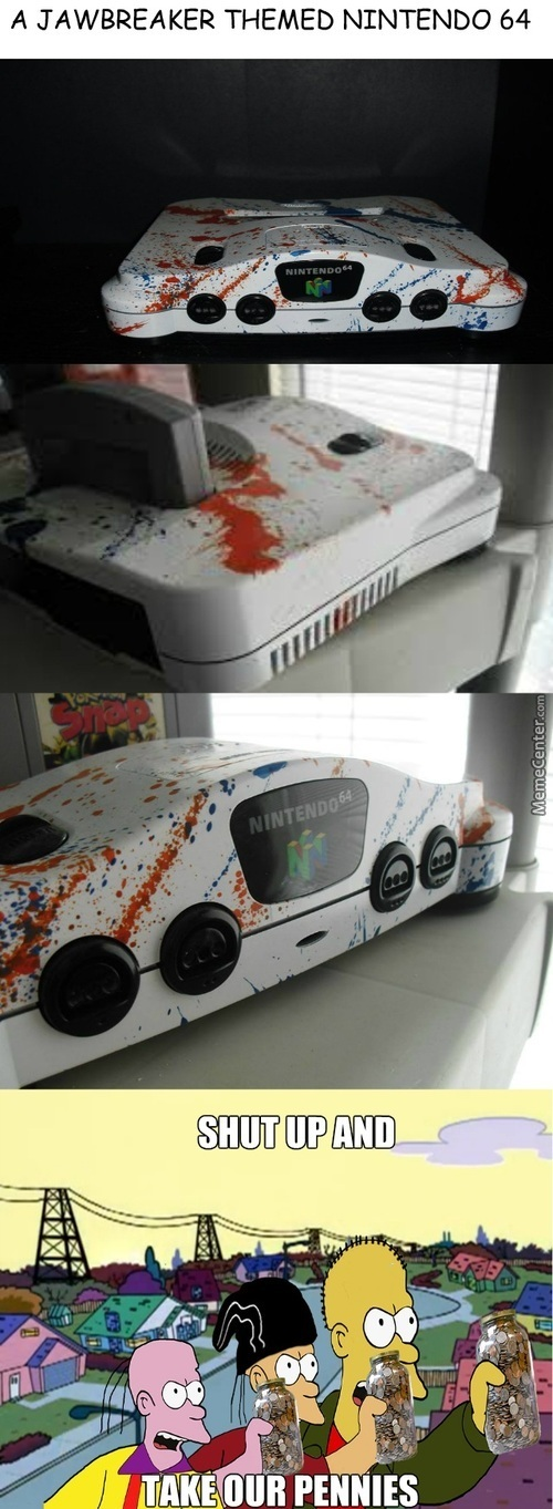 A Nintendo 64 With Customed With Jawbreaker Like Colors