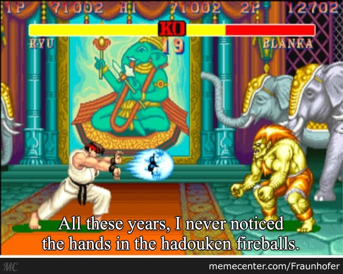 All These Years, I Never Noticed The Hands In The Hadouken Fireballs.