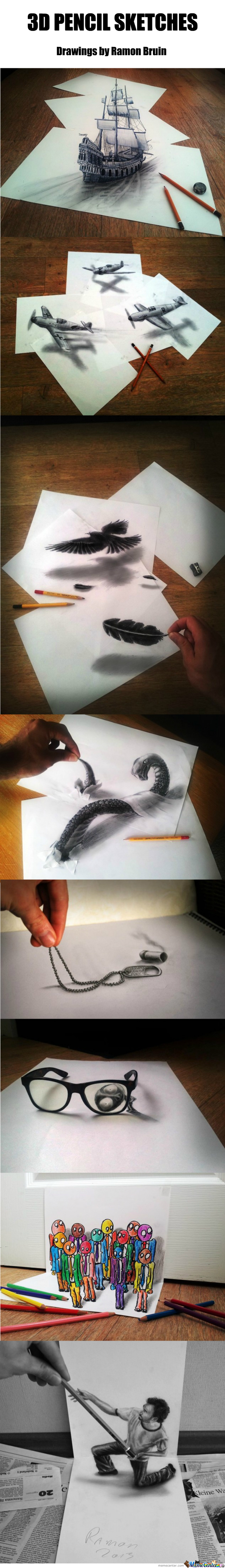 Amazing 3D Pencil Sketches