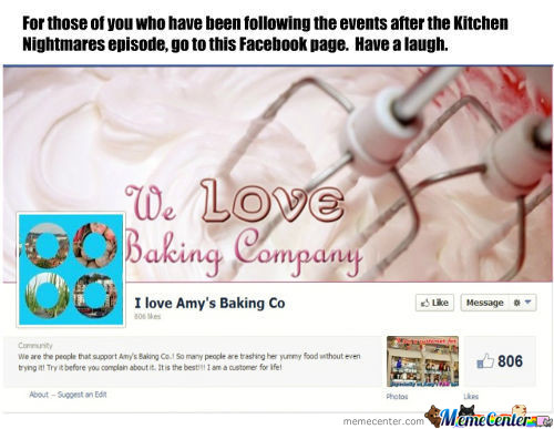 "Amy's Baking Company ""fan Page"""