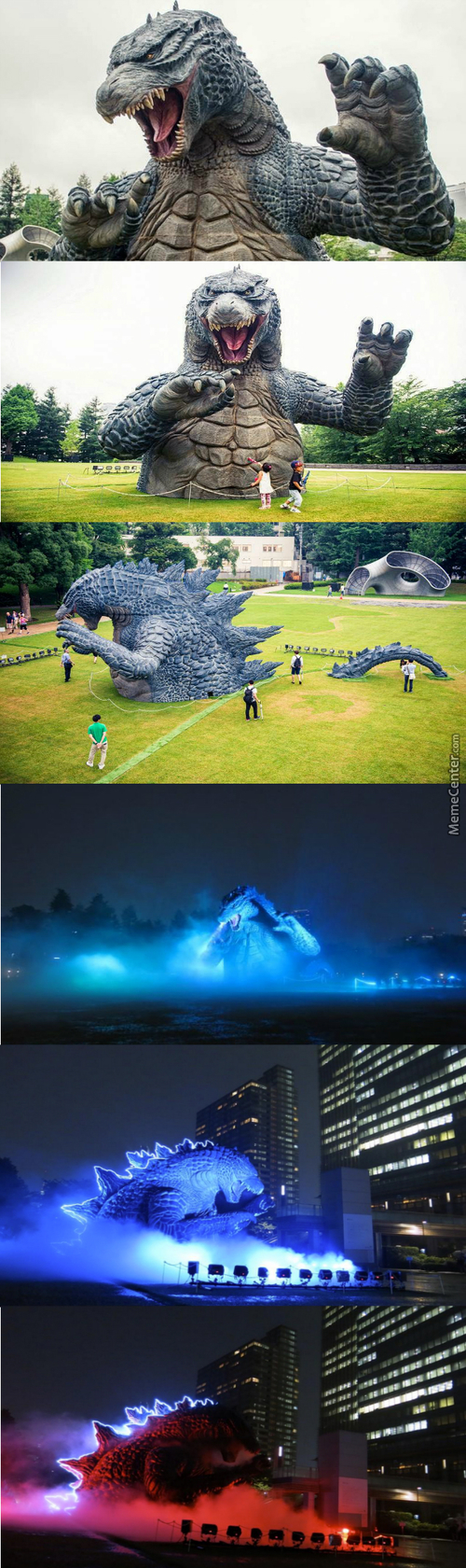 An Awesome Godzilla Statue In Tokyo Midtown Park For Godzilla 60Th Anniversary