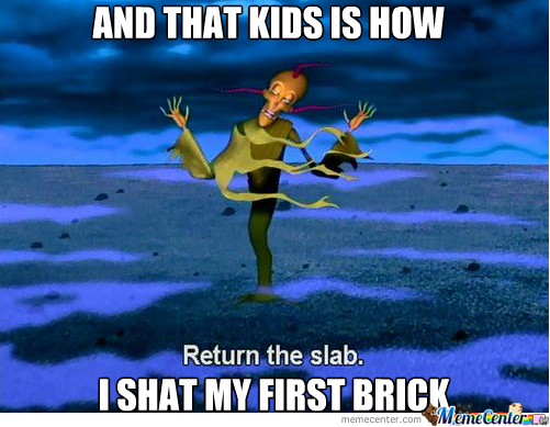 And That Kids..is How I Shat My First Brick