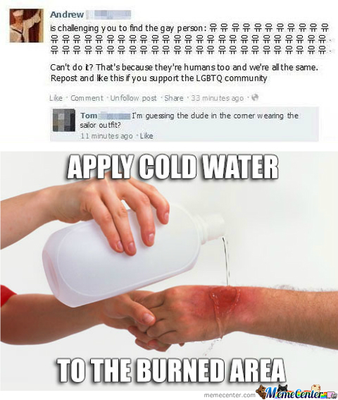 Apply Cold Water To Burned Area.