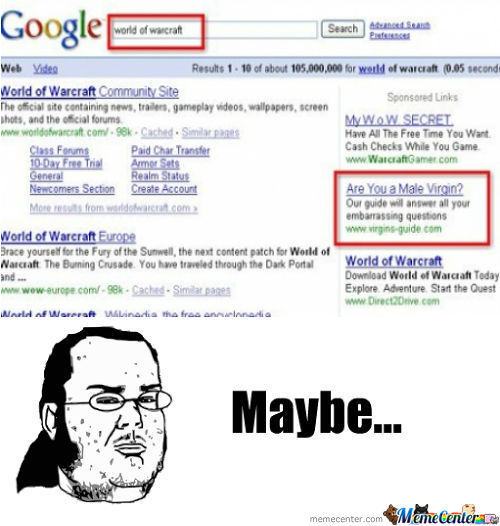 World of Warcraft Search Result Ad